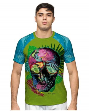 CAMISA DRY FIT TROPICAL SKULL MASCULINO