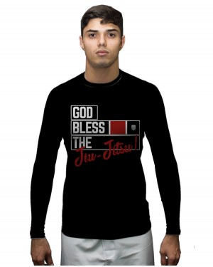 RASHGUARD MASCULINO GOD BLESS THE JIU JITSU BLACK