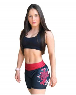 SHORT FITNESS RED FLOWER FEMININO
