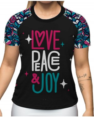 CAMISA DRY FIT PEACE AND LOVE FEMININO