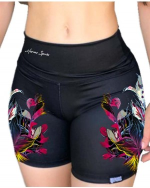 SHORT FITNESS TATTOO FLOWERS FEMININO