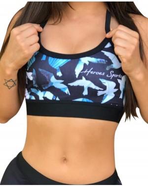 TOP ALCINHA BIRDS BLUE FEMININO