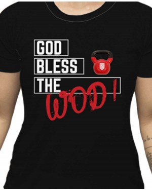 CAMISA DRY FIT FEMININO GOD BLESS THE WOD BLACK
