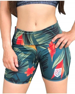 SHORT FITNESS TROPICAL FEMININO