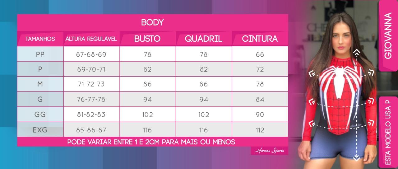 Tabela de Medidas Body Feminino