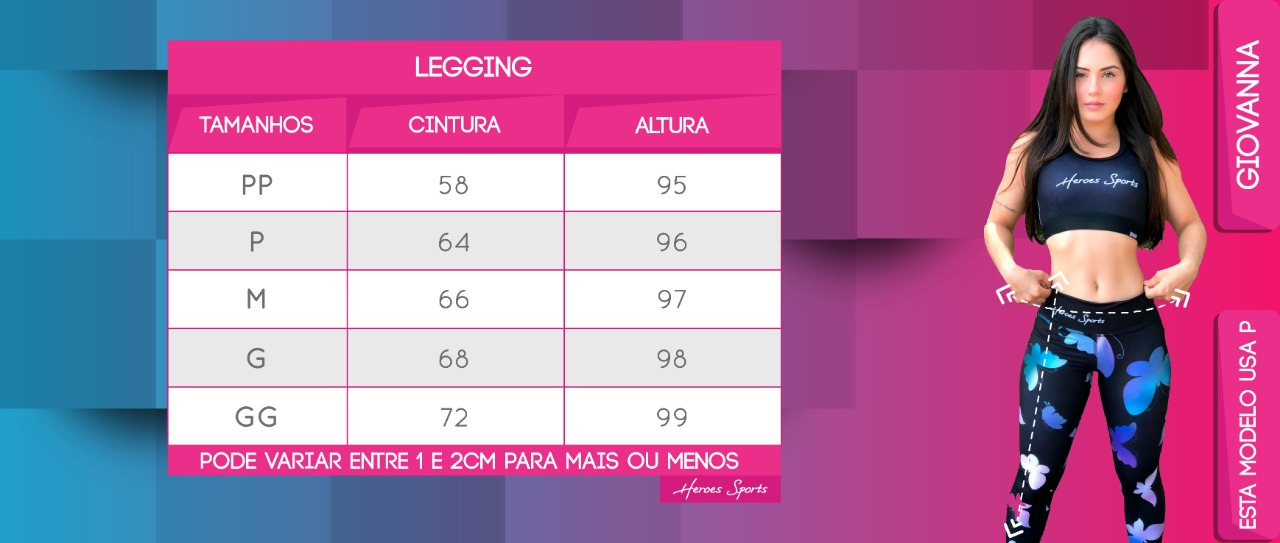 Tabela de Medidas Legging Feminina