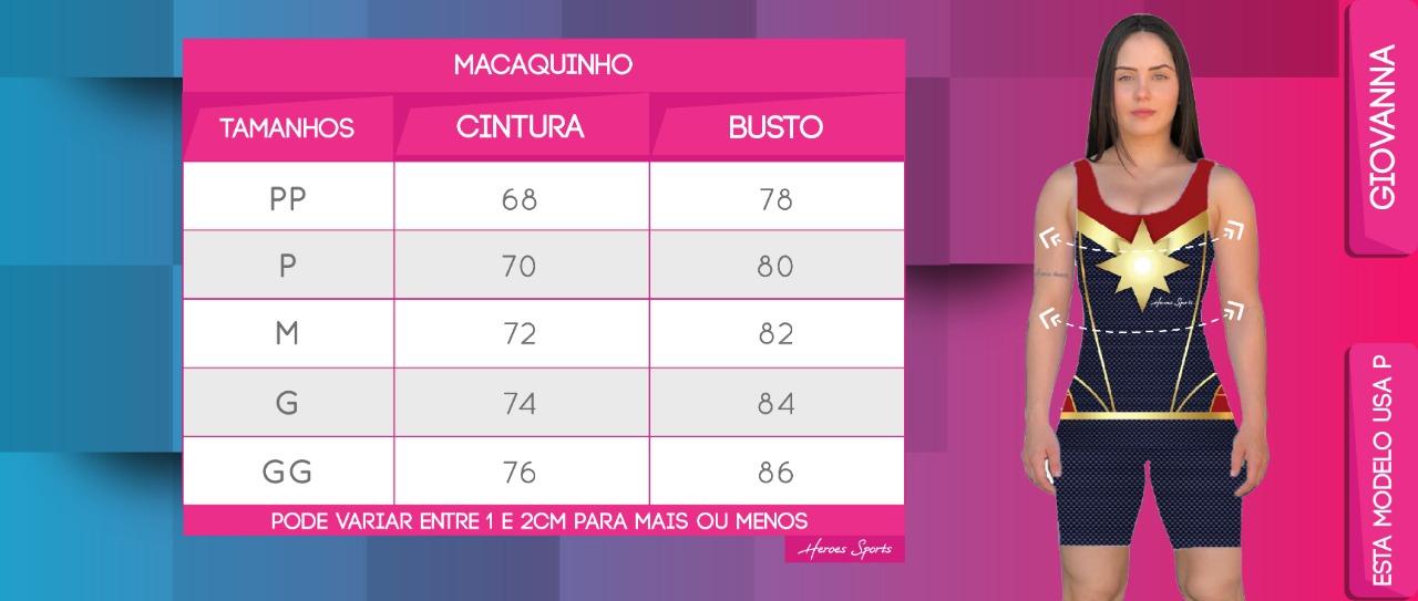 Tabela de Medidas Macaquinho Feminina