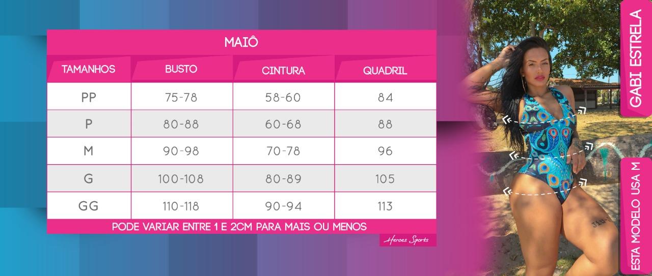Tabela de Medidas Maiô Feminina