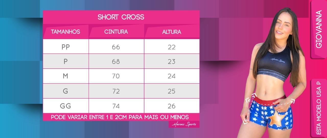 Tabela de Medidas Short Cross Feminina