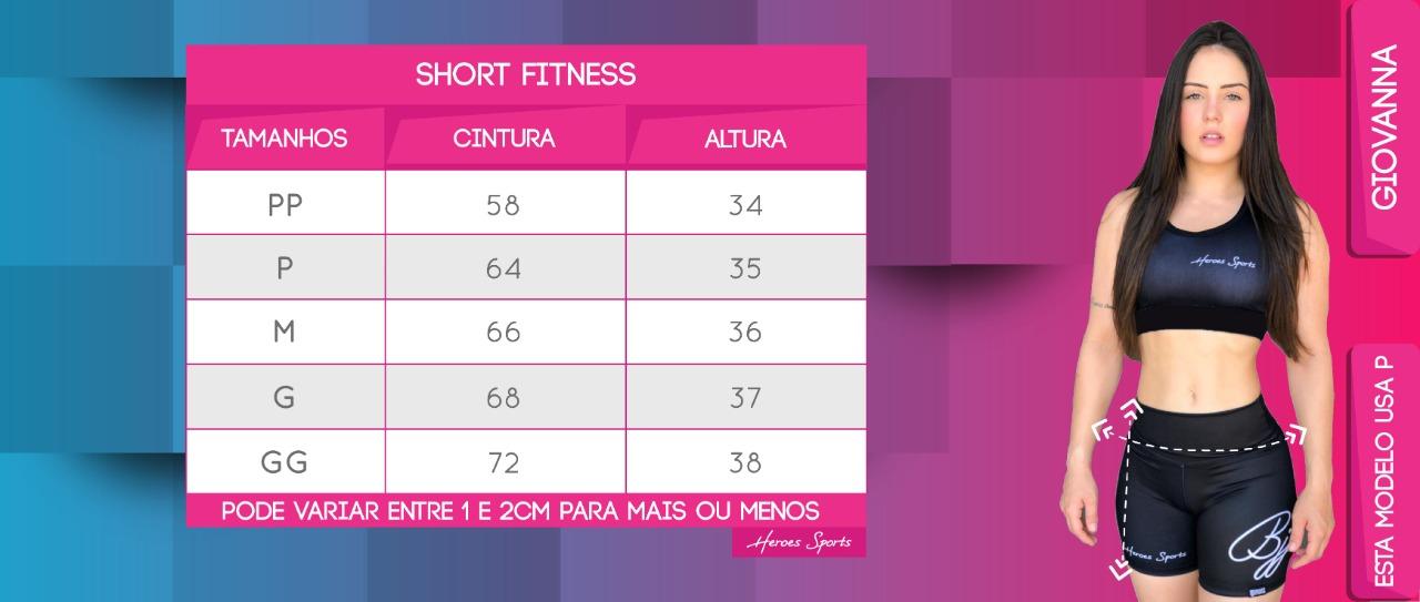 Tabela de Medidas Short Fitness Feminina