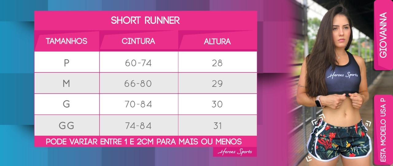 Tabela de Medidas Short Runner Feminina