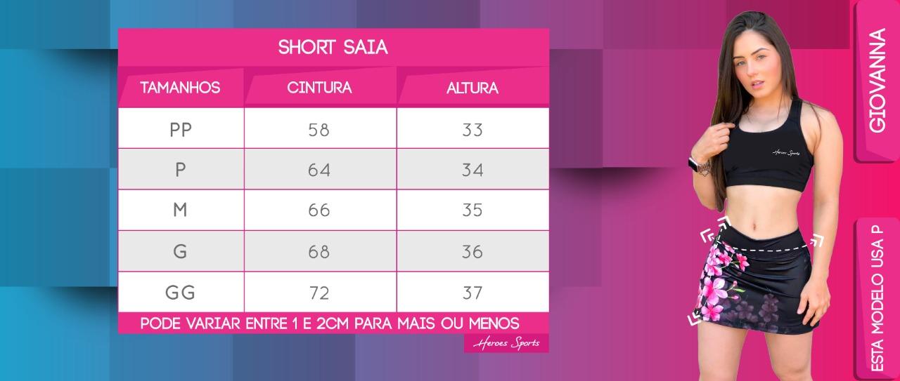 Tabela de Medidas Short Saia Feminina